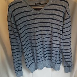 Light and Dark Blue Stripped Vneck Sweater